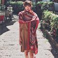 2016 New Autumn Winter Stripe Retro Fringed Scarve Totem National Wind Cotton Shawl Female Scarf Big Size Travel Sun Beach Towel