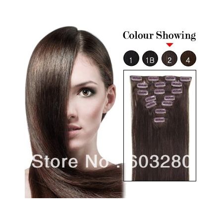 2022242628 clip hair extension natural hair color dark brown #02 120gram 160gram set<br><br>Aliexpress