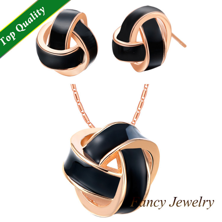 esmalte conjuntos joias,Black/White Enamel Earrings Necklace Jewelry Sets,18k Rose Gold/White Gold Plated Jwellery for WomanT271(China (Mainland))