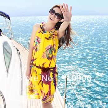 Beach dress bohemia short design plus size chiffon dresses yellow with belt summer sleeveless dress for women