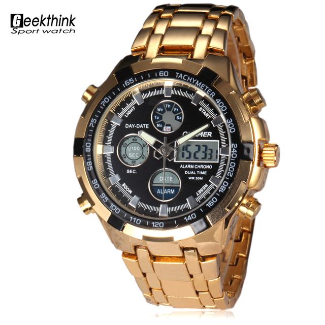 Мода марка часов мужской из светодиодов цифровой роскоши спортивные часы человек военно-анфас стали водонепроницаемый кварцевые наручные часы Relogio Masculino