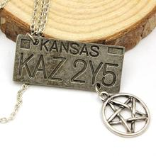 Hot Sale Movie Jewelry Supernatural Dean License Plate Pendant Necklace New Fashion Vintage Necklace For Everyone