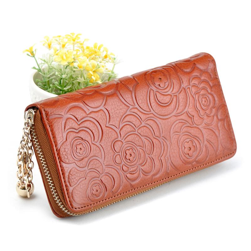 2015 Year Women Fashion Wallet Genuine Pretty Rose Grain Wallets Clutch Bag Lady Zipper Purses Coin Female Card Holder Purses 4(China (Mainland))