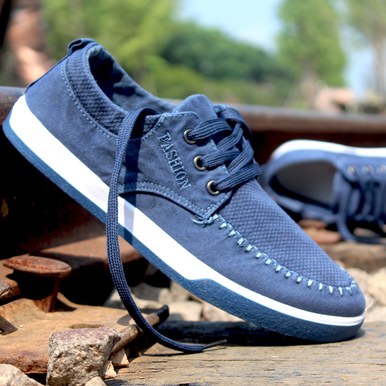 Fashion Breathable Sneakers Men Jeans Canvas Shoes High Quality Male Lace-Up Platform Casual Flat Shoes Men Sneakers Blue 3A(China (Mainland))
