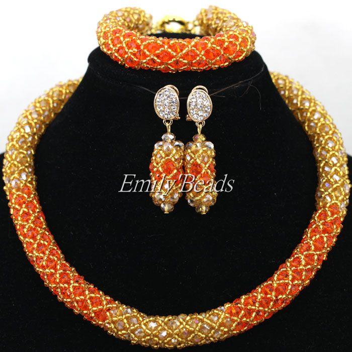 Smart Champagne Gold African Beaded Jewelry Set Orange Nigerian Wedding Crystal Beads Necklace Set Bride Gift Single Row AIJ836(China (Mainland))