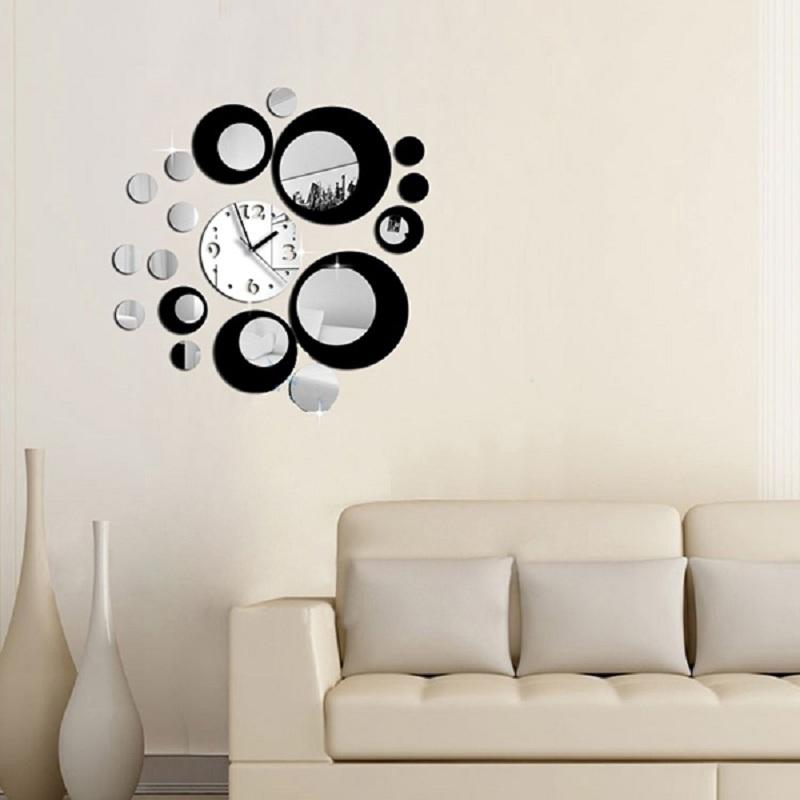 DIY Circles Design Acrylic Mirror Effect black Silver Wall Clock Mural Decal Sticker Movement Decor(China (Mainland))