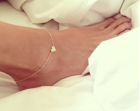 Tiny Gold Love Heart Anklets for Women Barefoot Sandals Foot Ankle Chain Bracelet Summer Style(China (Mainland))