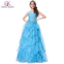 Rot Blau Quinceanera Kleid 2016 Gnade Karin Trägerloses Formales Vestidos Lange Ballkleid Organza Prom Kleider für Süße 16 Jahre(China (Mainland))