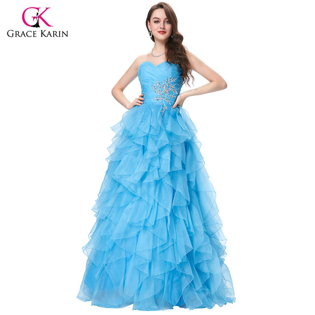 Red Blue Quinceanera Dress 2016 Grace Karin Strapless Formal Vestidos Long Ball Gown Organza Prom Dresses for Sweet 16 Years