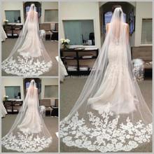 Brillant dentelle Appliqued voile de mariage cathédrale de couleurs voiles de mariée blanc ivoire accessoires de mariage(China (Mainland))