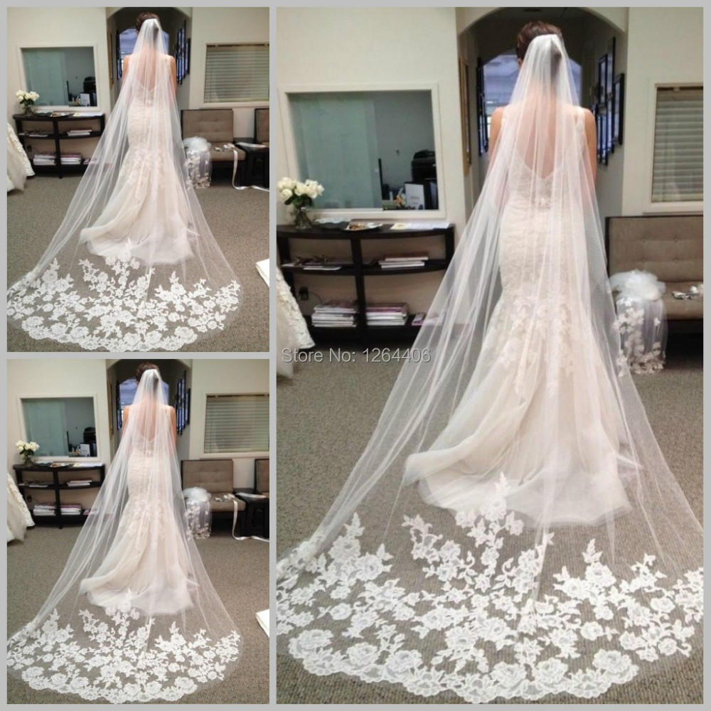 Lace Wedding Veils: Brilliant Lace Appliqued Wedding Veil Cathedral Of Bridal