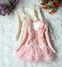 Alta calidad 1 Unidades vestidos y capa del resorte del otoño viste vestido de los niños vestido de las muchachas(China (Mainland))