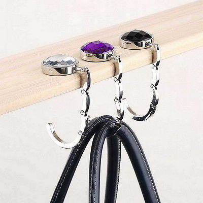 New Bag Hook Portable Foldable Folding Table Purse Bag Hook Hanger Holder Handbag Crystal Rhinestone decoration(China (Mainland))