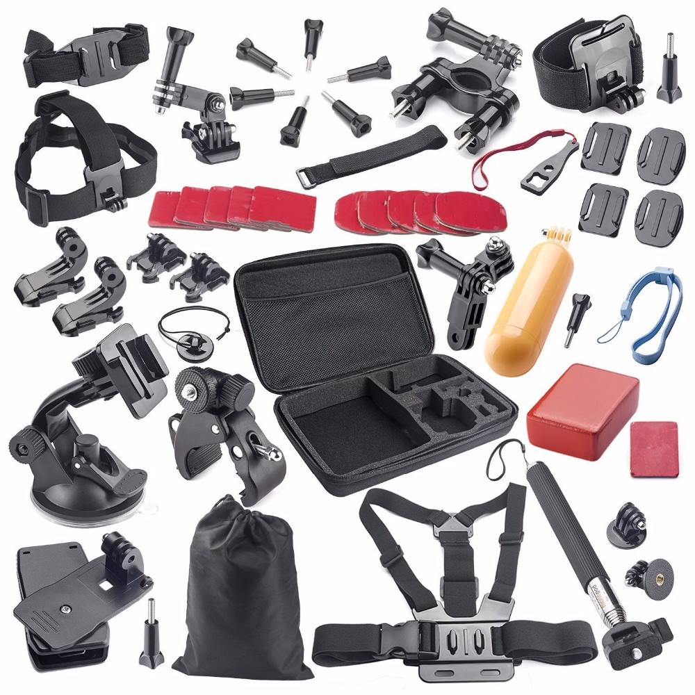 44 in 1 Bundles Gopro 4 Accessories Set Suit Gopro Kit Case Bag Chest Strap for Go pro Hero 4 3 2 Xiaomi yi Sj4000 Action Camera