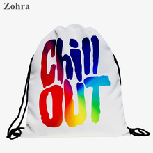 Color letters Women bolsa feminina sport drawstring bag Travel Wild party backpack mochila man Gym bags Zohra brand 3D printing