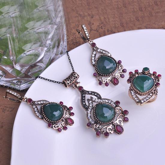 Vintage De lujo Bijuterias cristal lágrimas Antigold collar pendientes Joyas mujeres Bisuteria Brincos De Prata Turca