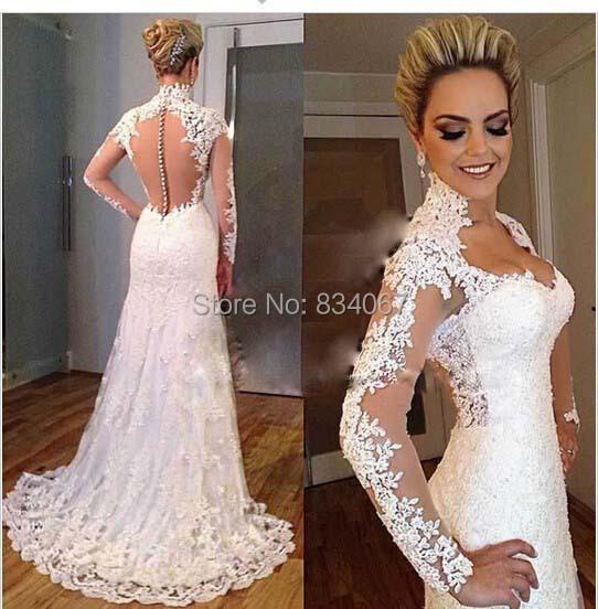 col haut Sheer retour robe de mariée 2015 belle robes de mariée avec ...