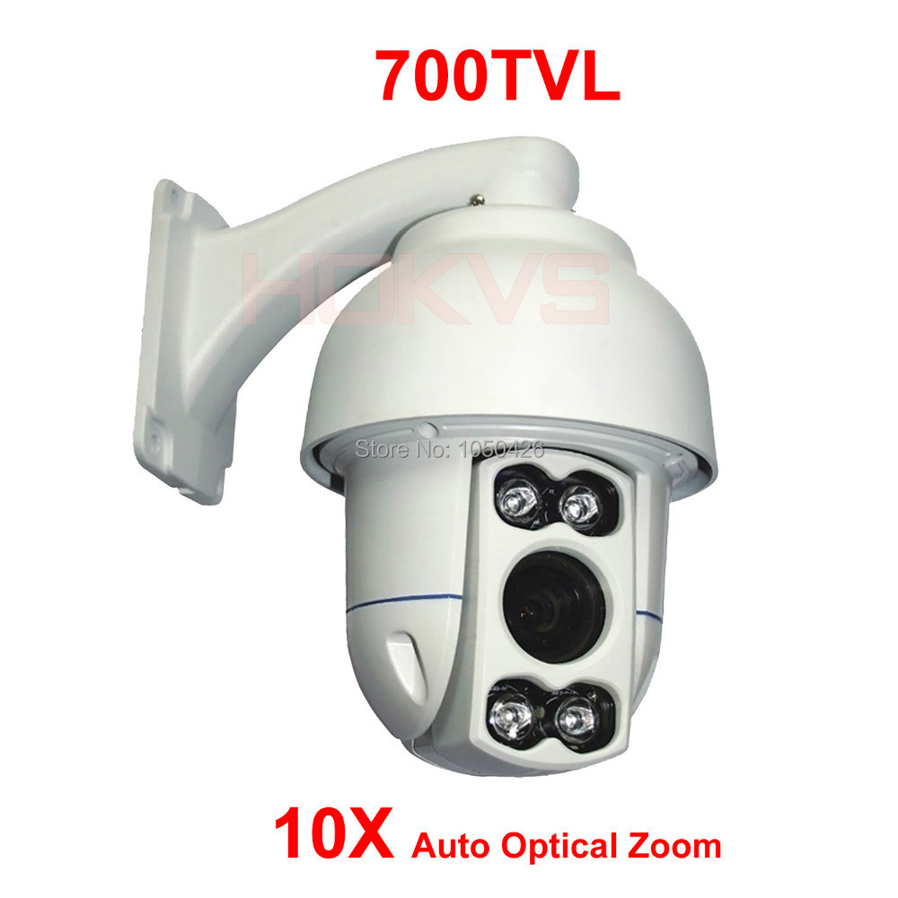 Waterproof Outdoor 10X Auto Zoom 4pcs of Array IR LED Light Mini High Speed Dome PTZ Camera(China (Mainland))