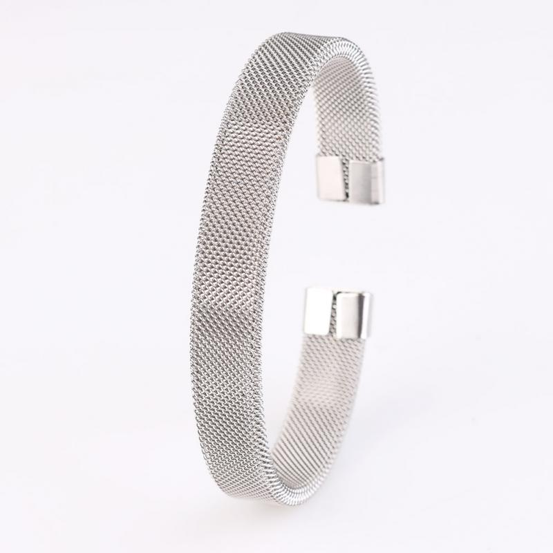 Fashion Mens Boys Modern Silver Stainless Steel Mesh Cuff Bangle Bracelet Gift - cn1510659978 store