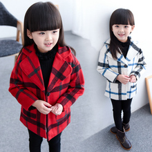 Free shipping 2015 new arrival fashion female 2-6years child baby girls winter Long coat Tartan jackets tide children's clothing