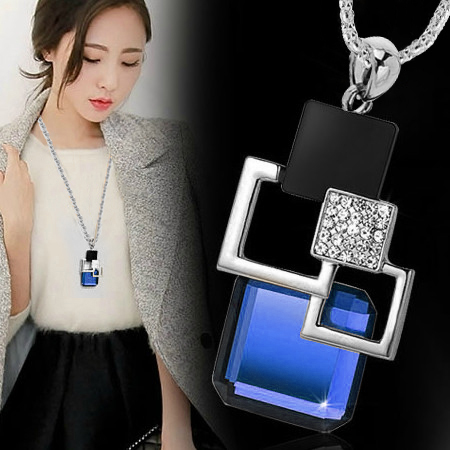 2016 fashion personality Silver color Hollow Geometric Big Crystal long Pendant Necklace Fine Jewelry women Sweater chain