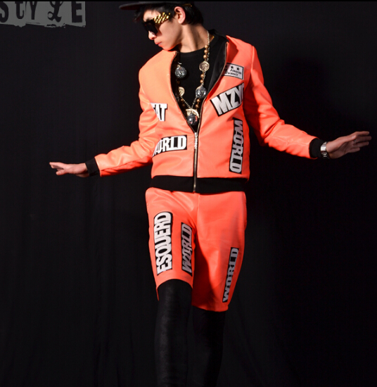 NEW Men Pretty orange PU letters baseball collocation DJ bar singer DS hair trend costumes (shirt + shorts + raincoat ) / M-3XL(China (Mainland))