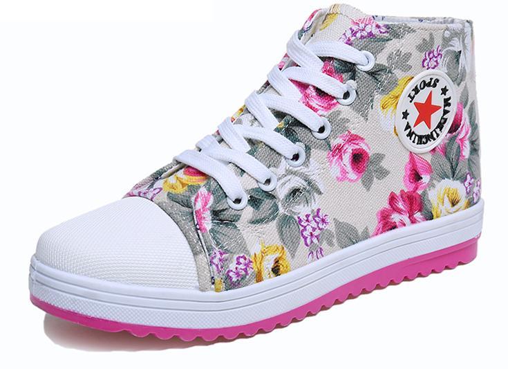 Mulheres primavera bonito sapatos flor impresso alta corte de lona sapatos altura crescente sapatos de menina barato venda(China (Mainland))
