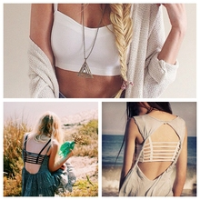 Fashion Hot Women Sexy Strap Tank Tops Summer 2015 Backless Vest Shirt Camis Solid Color Hollow