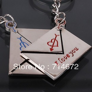 "Free shipping (50PR/LOT )Wholesale Alloy envelope  ""I LOVE YOU"" Couple Key Chain Ring Keyring Lover Gift"