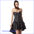 Steel Boned Black Overbust Corset Dress Steampunk Costume Burlesque Outfits Sexy Gothic Waist protect