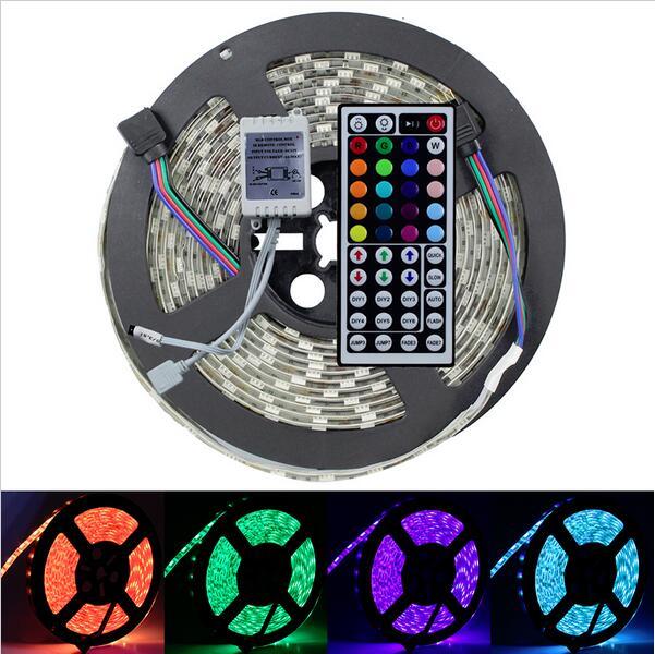 Waterproof Flash RGB 5050 5M 300 LED Flex SMD Strip & 44 key IR Remote Controller 12V DC(China (Mainland))