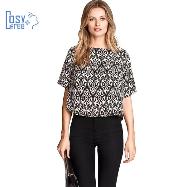 Summer Style 2015 Vintage Printed Women Blouse New Fashion