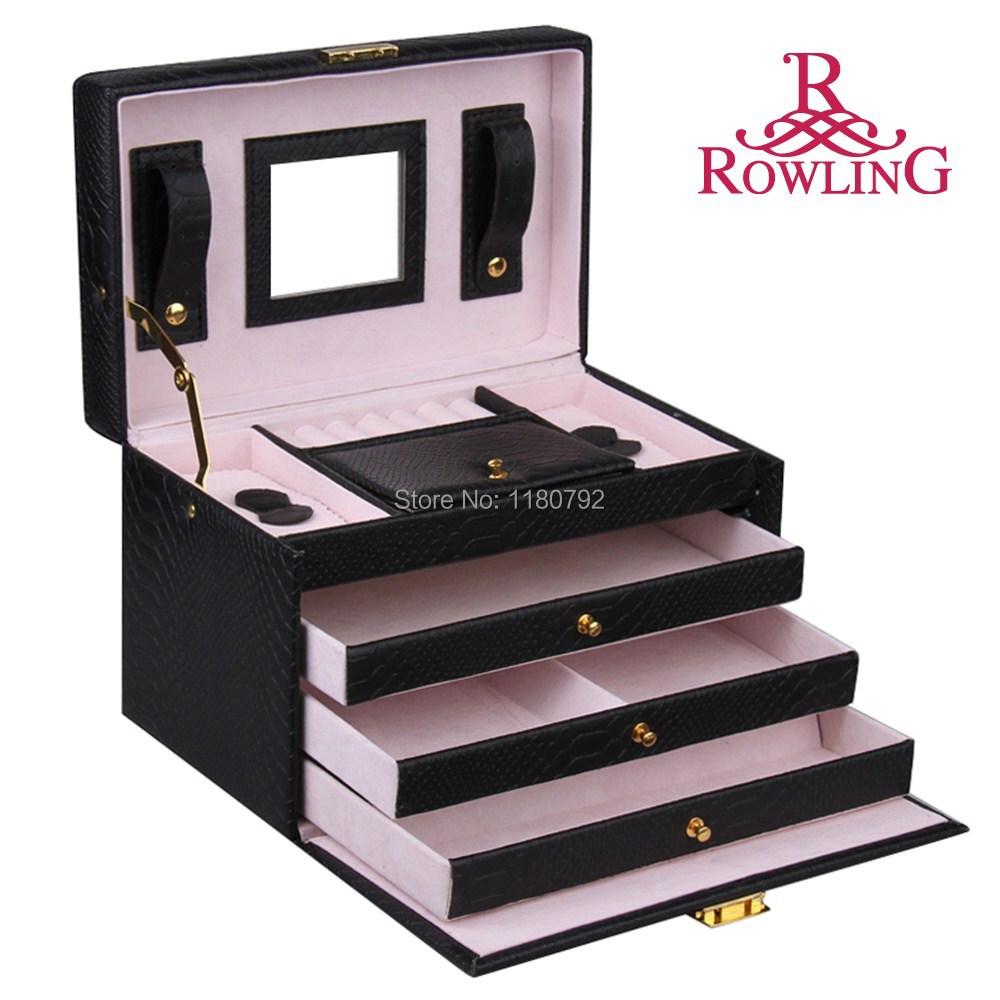 [ROWLING] BLACK Snake Faux Leather Jewelry Box Beads Ring Bracelet Storage Box Jewelry Organizer Gift Box Travel Case ZG091(China (Mainland))