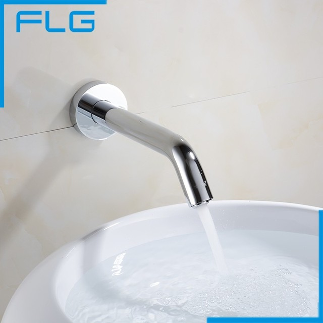 Automatic Sensor Single cold Wall Mounted Faucet Brass Chrome Basin Tap High Quality Brand New Free Shipping