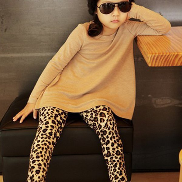 Chic Kids Girls Stretch Leggings Leopard Print Full Length Legging 1-6 years(China (Mainland))