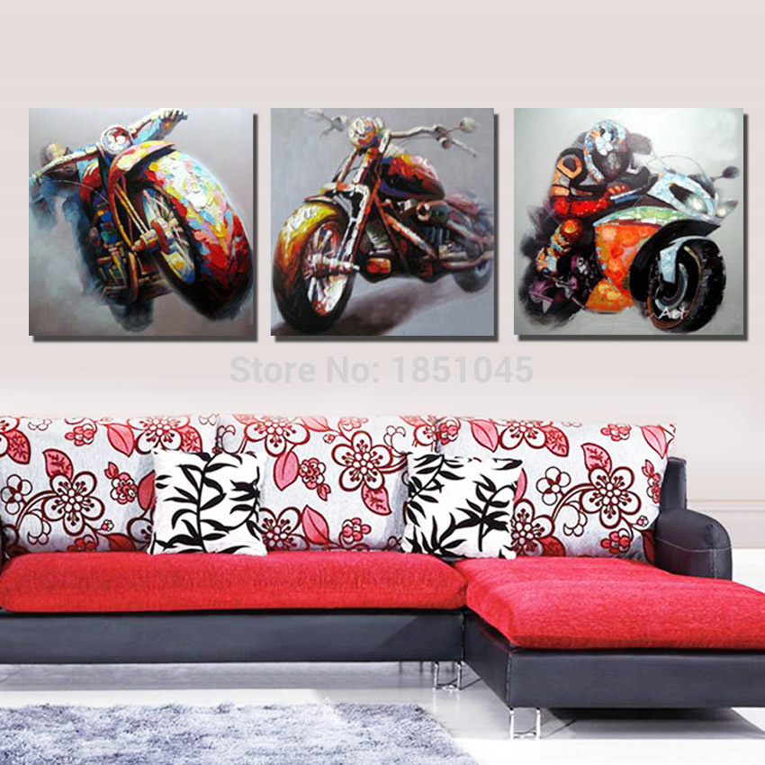 item Free Shipment Wall Art Abstract Motorcycle Oil Painting On Canvas Handmade  Piece set Pictures