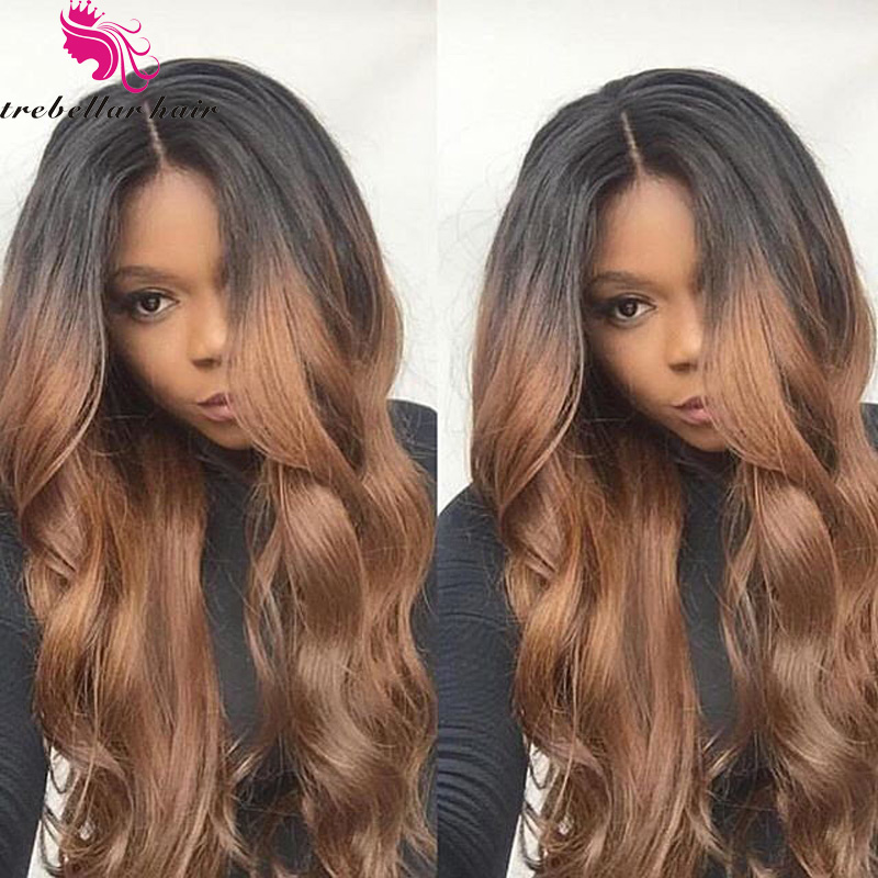 Peruvian Human Hair Lace Wigs Baby Hair Glueless Full Lace Ombre Lace Front Human Hair Wig Ombre Full Lace Human Hair Wig(China (Mainland))