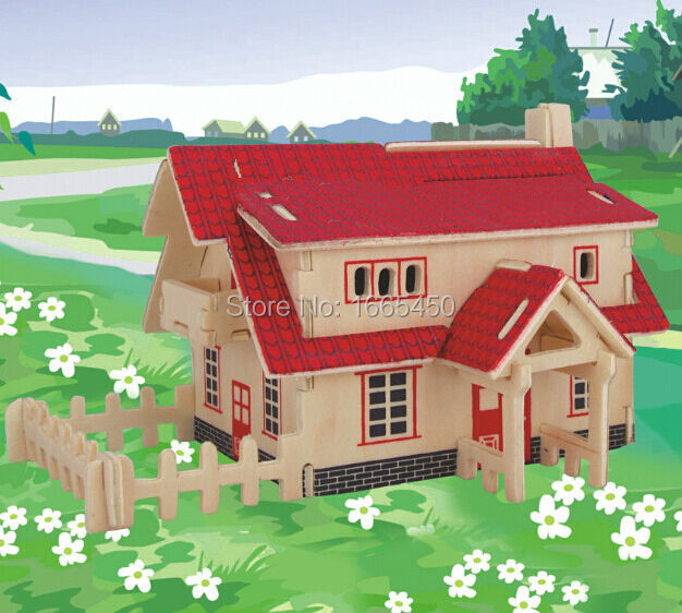New imaginative 3D Wooden Jigsaw Puzzle Ranch House model toys DIY suite for children and adult wooden toys(China (Mainland))