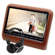 9 Inch Car Headrest DVD Player Monitor With 800x480 Screen Built-in Speaker Support USB SD Games Remote Control Beige Color(China (Mainland))