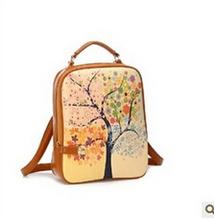 2015HOT SeasonsTree Spray Chart Bolt Lock Backpack Girls Trees Stamp Windmill Printed Backpack School Travel Shoulder Bag#SJJ172(China (Mainland))