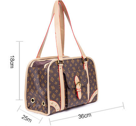 Free shipping new style pet dog cat carried bag travel bag dog shoulder bag leather bag classic style(China (Mainland))