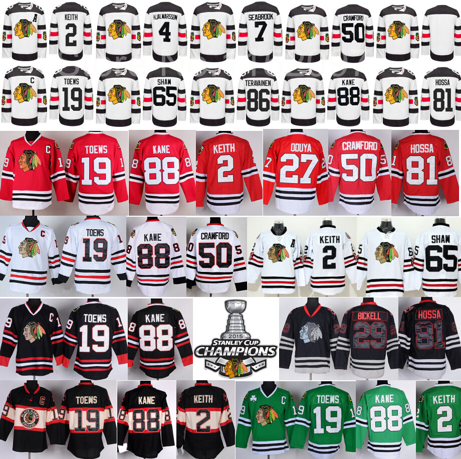 2016 Stadium Series Hockey NHL Chicago Blackhawks Jerseys  88 Patrick Kane 19 Jonathan Toews 2 Duncan Keith 50 Crawford 65 Shaw