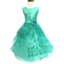 2019 Meninas Azul Escuro do Vestido Bordado Formal de Dama de Honra Do Casamento Vestido de Festa Da Princesa Crianças Roupas de Natal Das Crianças 22 Cores(China)