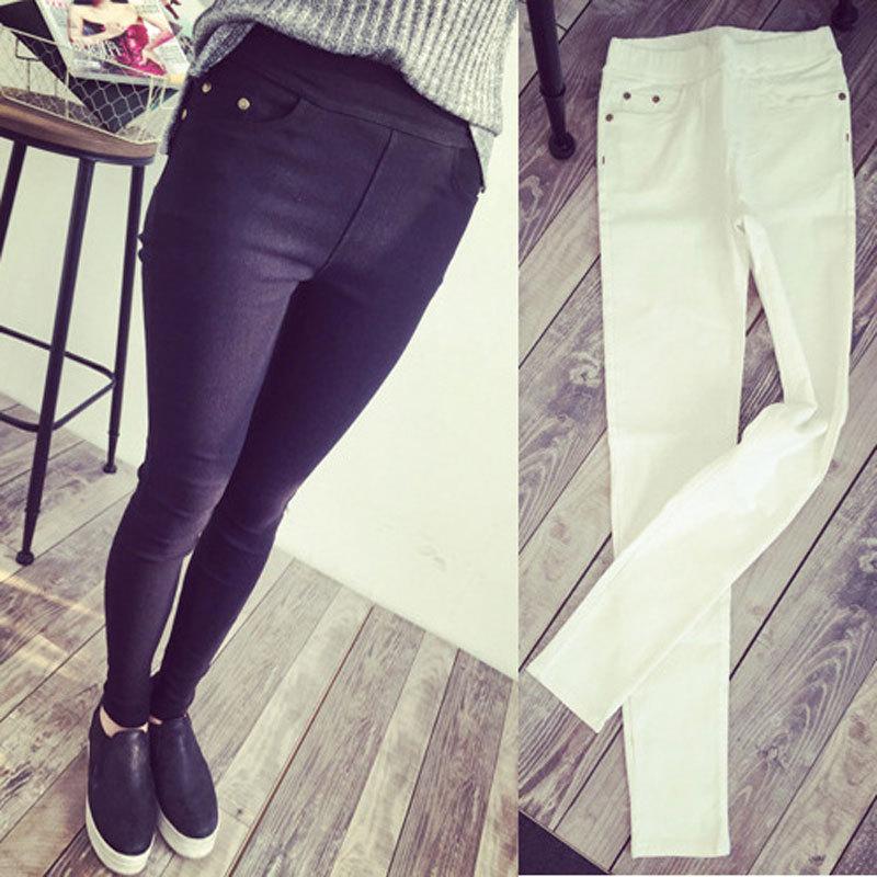 2015 New Fashion Womens Spring Autumn Casual Skinny Jeans Leggings Woven Slim High Elastic Denim Pencil Pants Pocket Women - KF Store store
