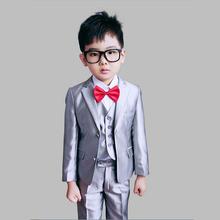 Boys Wedding suits 3 pieces Blazer Jacket set Kids Tuxedo suit Baby Autumn clothing set Formal dress(China (Mainland))