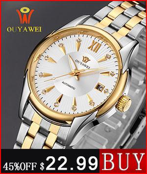 Original OUYAWEI Skeleton Automatic mechanical watch men leather Strap Waterproof Lover Watch Women xfcs Relojes Hombre 2016