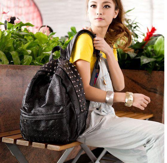 2013 new fashion women leather backpack skull print  vintage totes bolsas school bag  printing backpack brand designer freeship<br><br>Aliexpress