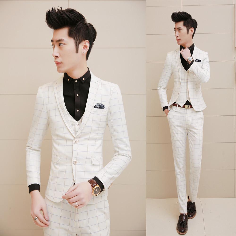 2015 new arrival wedding dress suits, fashion plaid three-piece suits, men white party clothing, latest coat pant designs