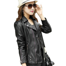 2016 New Fashion Women Leather Jacket Long Sleeve Slim PU Women Autunmn Jacket Thicken Plus Size Leather Jackets For Women TB624(China (Mainland))