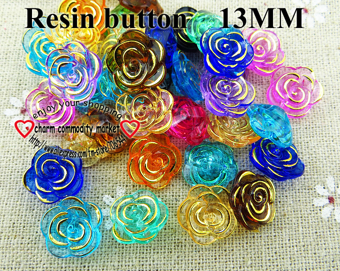 200PCS 13MM ROSE MIXED RESIN BUTTON KIDS SWEATER CLOTHES PEARL BUTTONS SHIRT R-232(China (Mainland))